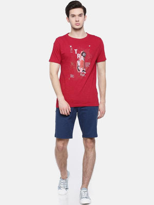 t-base men's red crew neck printed t-shirt