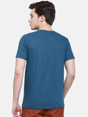 t-base men's blue crew neck printed t-shirt