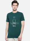 t-base men's green crew neck printed t-shirt