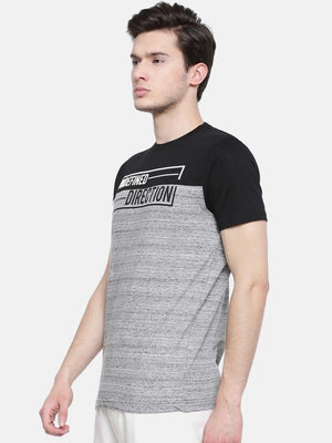 t-base men's grey crew neck printed t-shirt
