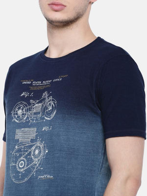 t-base men's indigo crew neck printed t-shirt