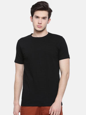 t-base men's black crew neck self design t-shirt