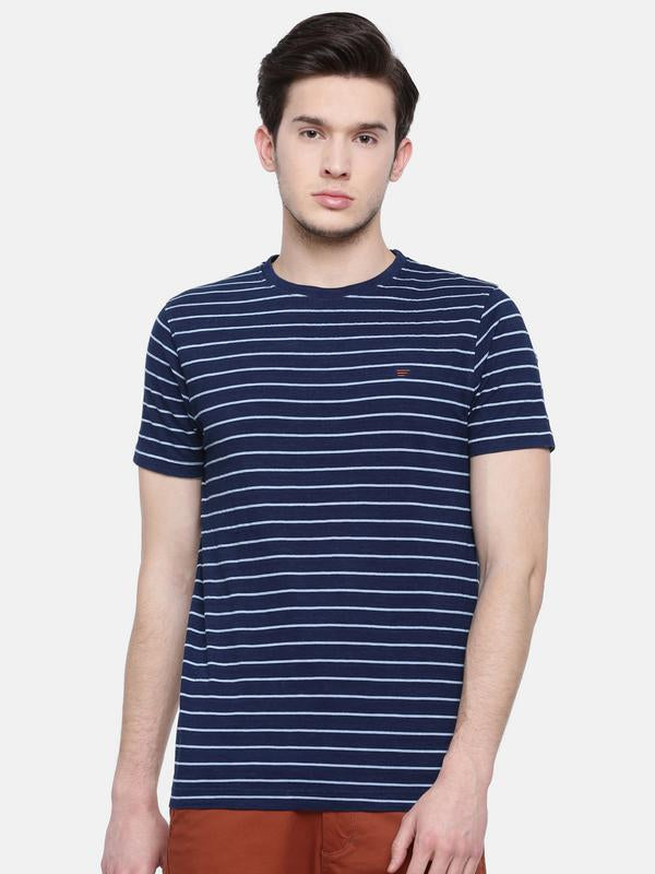 t-base men's indigo crew neck striped t-shirt