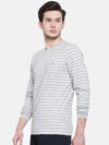 t-base men's grey crew neck striped t-shirt