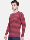 t-base men's red crew neck striped t-shirt