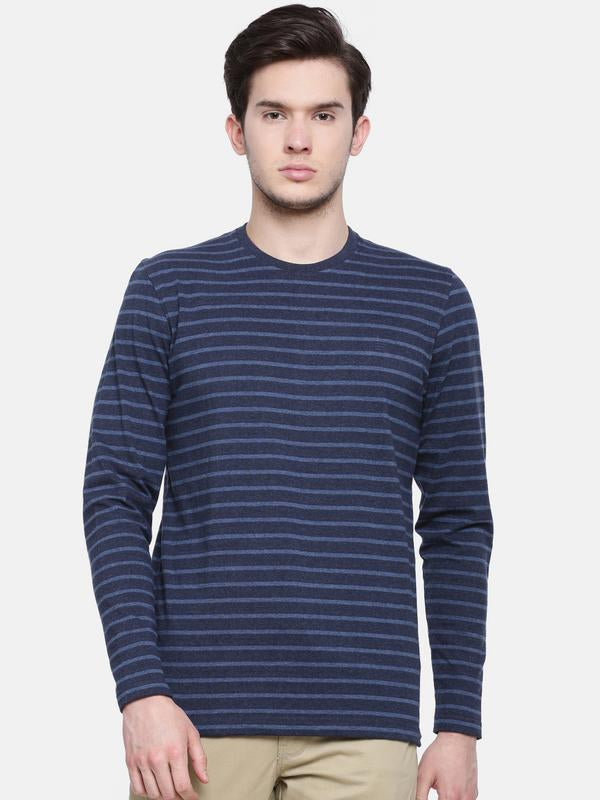 t-base men's blue crew neck striped t-shirt