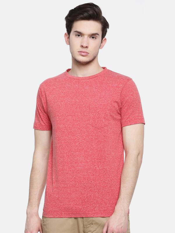 t-base men's red crew neck solid t-shirt