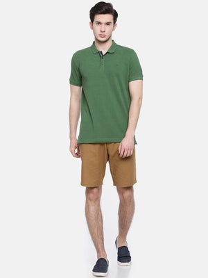 t-base men's green polo neck solid t-shirt