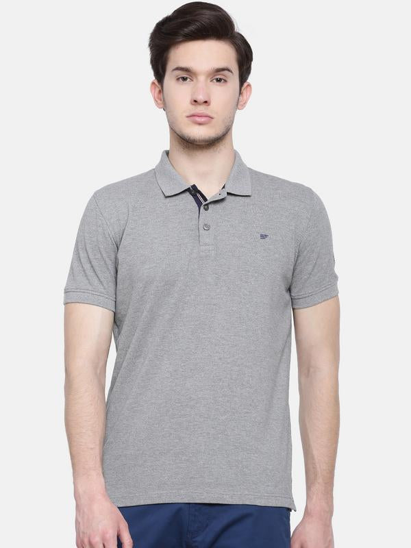 t-base men's grey polo neck solid t-shirt