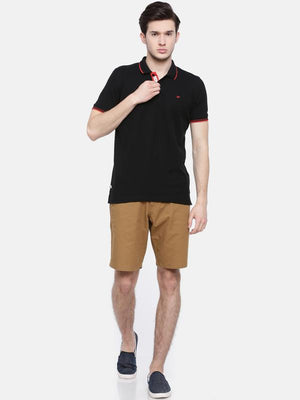 t-base men's black polo neck solid t-shirt