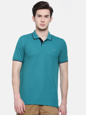 t-base men's blue polo neck solid t-shirt