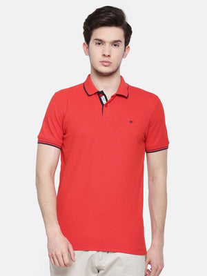 t-base men's red polo neck solid t-shirt