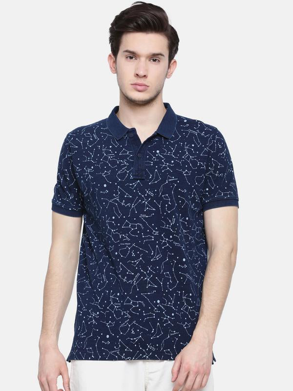 t-base men's indigo polo neck printed t-shirt