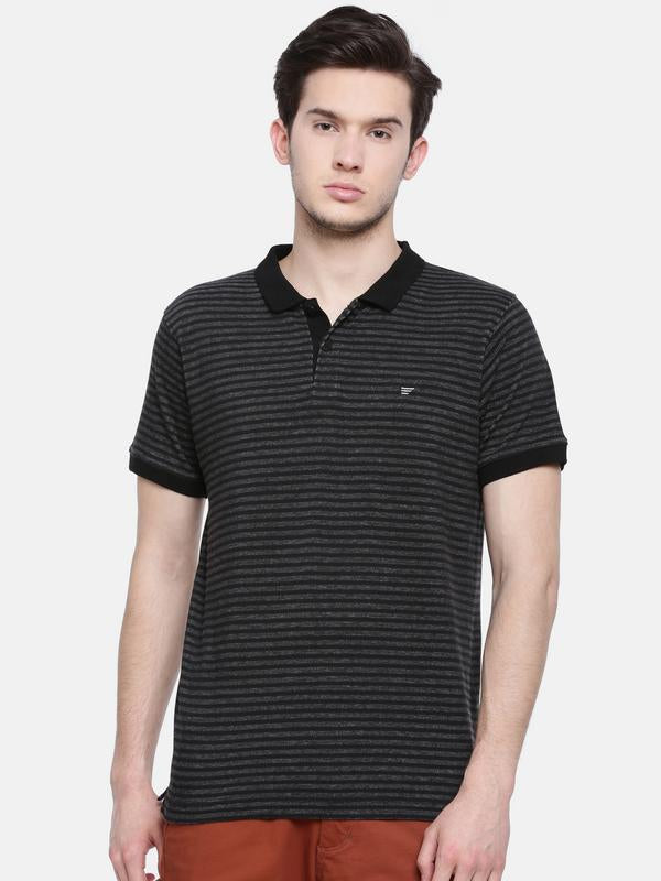 t-base men's black polo neck striped t-shirt