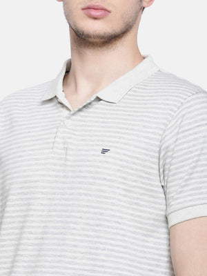t-base men's grey polo neck striped t-shirt