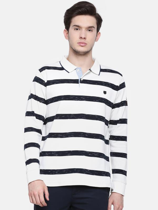 t-base men's off-white polo neck striped t-shirt