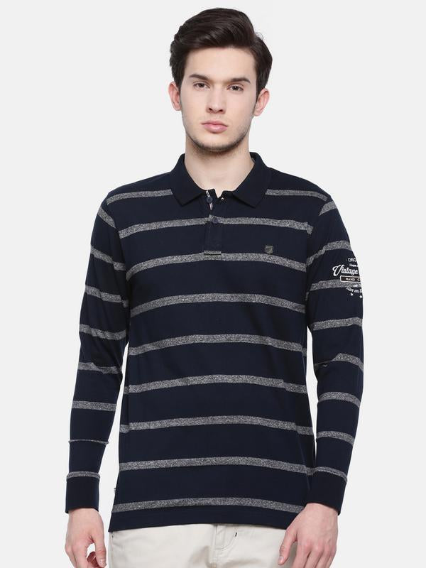 t-base men's navy polo neck striped t-shirt