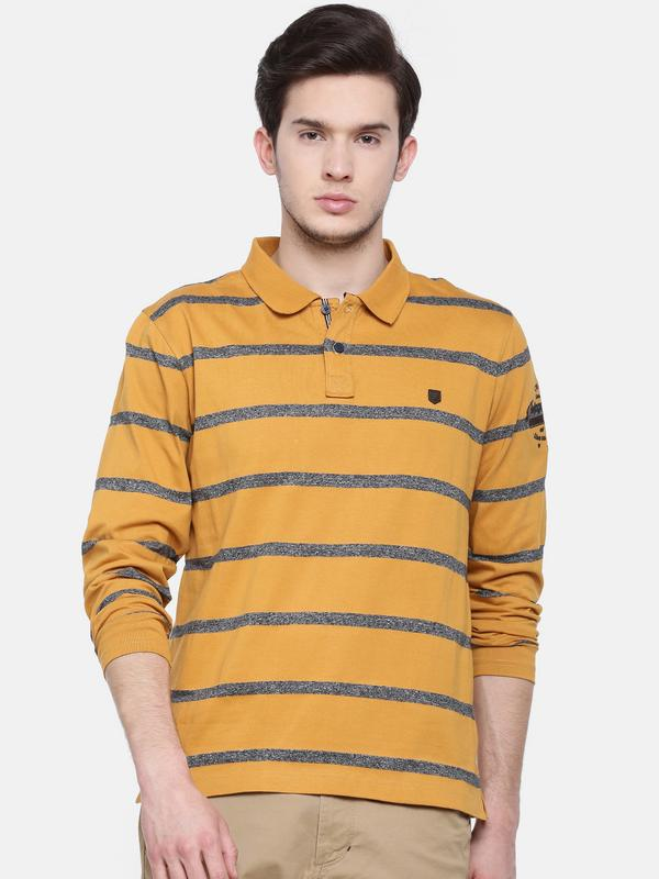 t-base men's yellow polo neck striped t-shirt