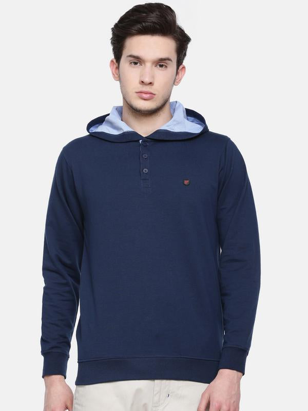 t-base men's blue hooded solid t-shirt
