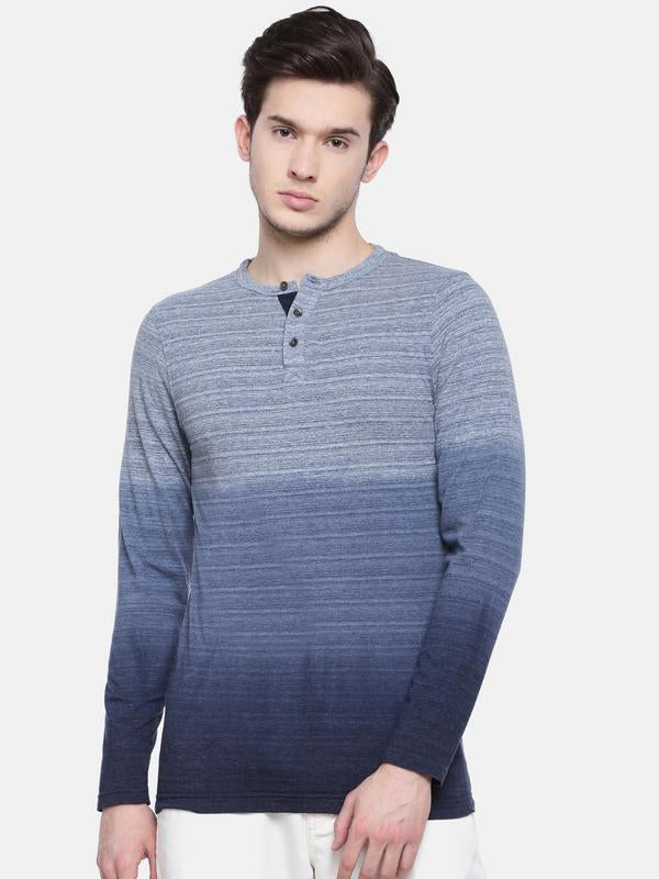 t-base men's blue henley striped t-shirt