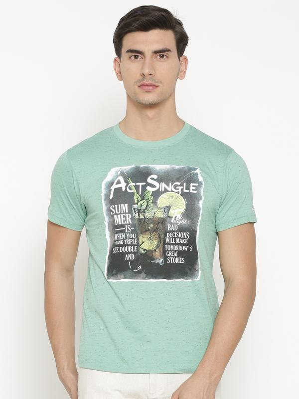 t-base Men's Green Round Neck Printed T-Shirt