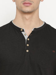 t-base Men's Black Henley Neck Solid T-Shirt