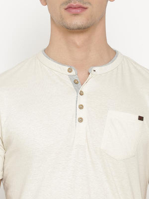 t-base Men's Off White Henley Neck Solid T-Shirt