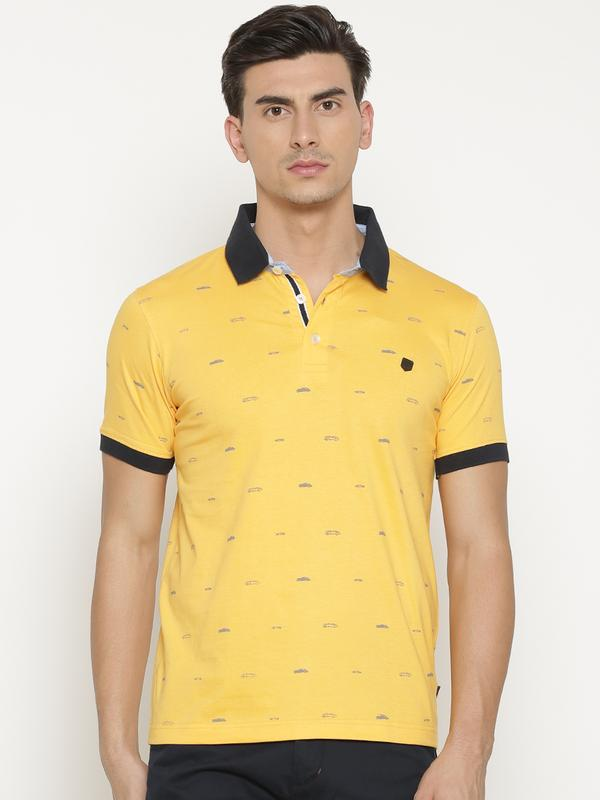 b948a9d07 Buy t-base Men s Yellow Polo Collar Printed T-Shirt for Men Online India –  tbase