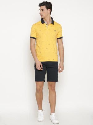 t-base Men's Yellow Polo Collar Printed T-Shirt