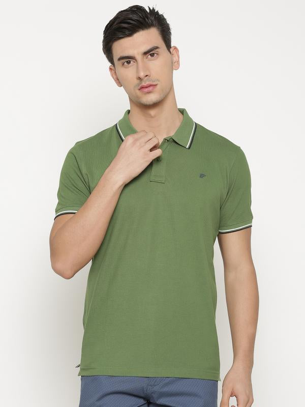 t-base Men's Green Polo Collar Solid T-Shirt