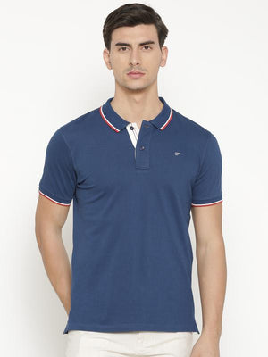t-base Men's Blue Polo Collar Solid T-Shirt