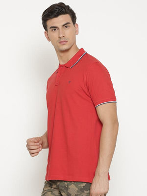 t-base Men's Red Polo Collar Solid T-Shirt