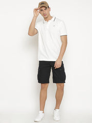t-base Men's Off White Polo Collar Solid T-Shirt