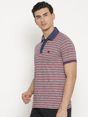 t-base Men's Red Polo Collar Striped T-Shirt