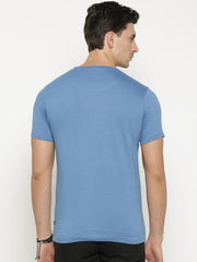 t-base Men's Blue Round Neck Printed T-Shirt