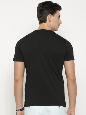 t-base Men's Black Round Neck Printed T-Shirt