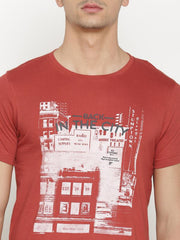 t-base Men's Red Round Neck Printed T-Shirt