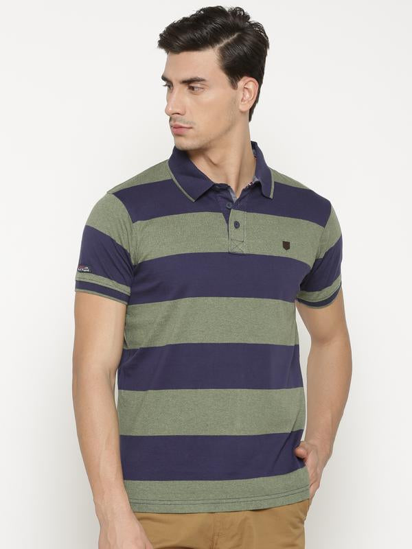 t-base Men's Green Polo Collar Striped T-Shirt