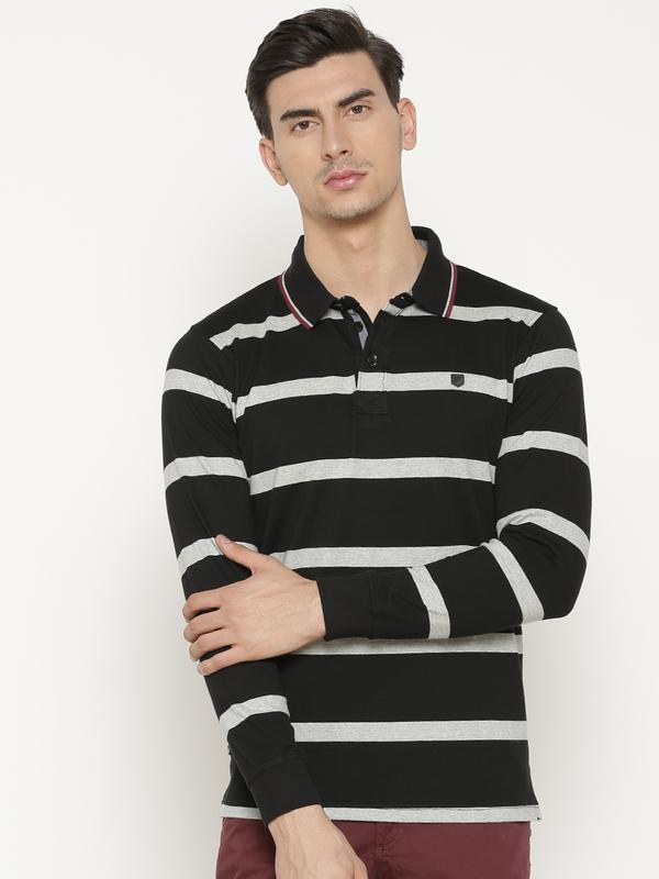 t-base Men's Black Henley Neck Striped T-Shirt