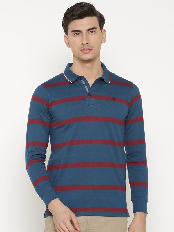 t-base Men's Blue Henley Neck Striped T-Shirt