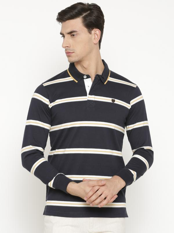 t-base Men's Blue Polo Collar Striped T-Shirt