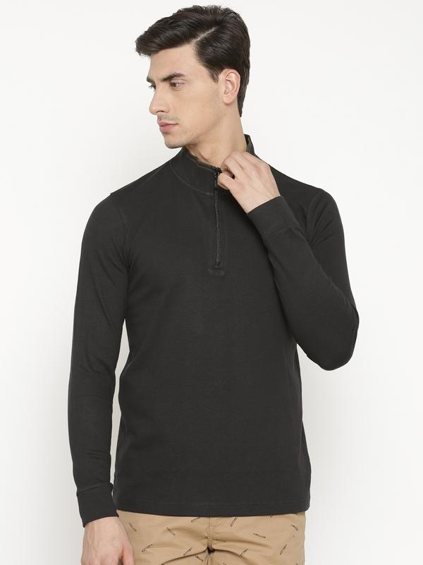 t-base Men's Black High Neck Solid T-Shirt