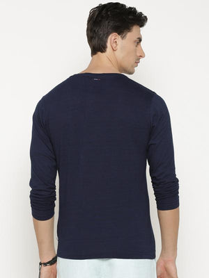 t-base Men's Blue Henley Neck Printed T-Shirt