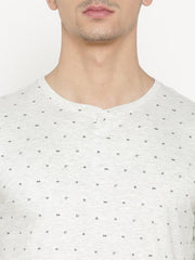 t-base Men's Grey Henley Neck Printed T-Shirt