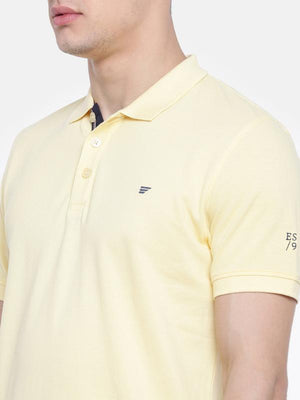 t-base Yellow Polo Neck Solid T-Shirt