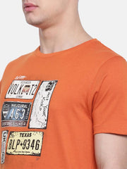 t-base Orange Crew Neck Printed T-Shirt