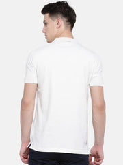 t-base Off-White Polo Neck Solid T-Shirt