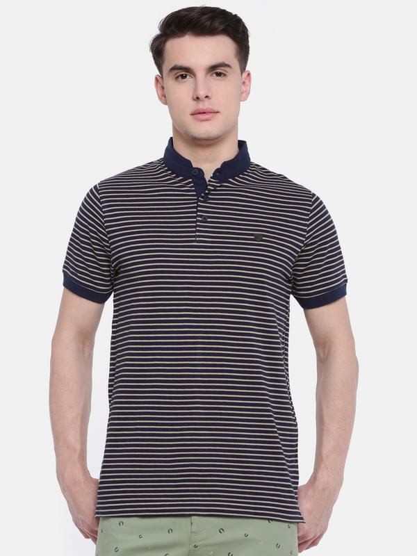 t-base Blue Polo Neck Striped T-Shirt