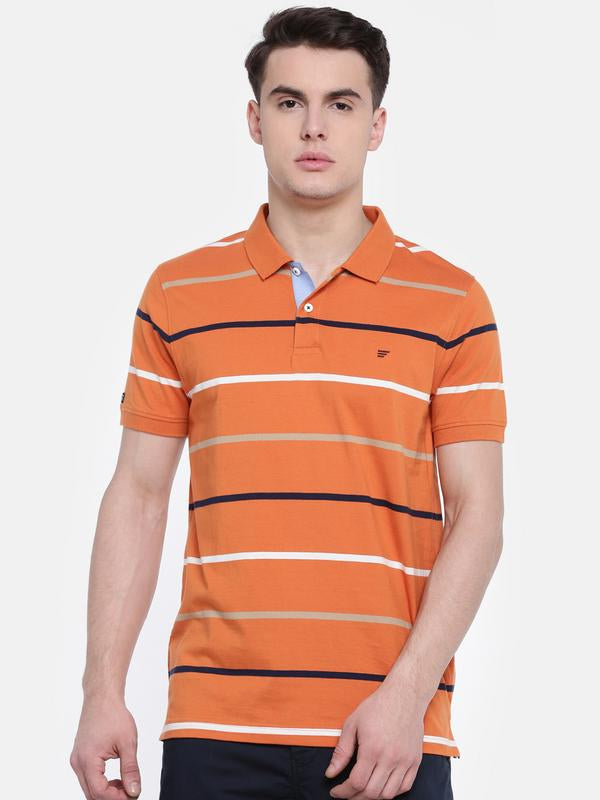 t-base Orange Polo Neck Striped T-Shirt
