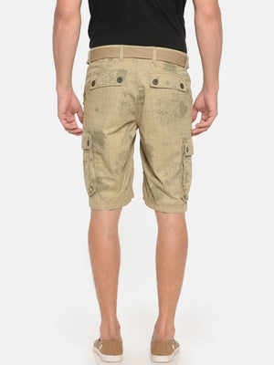 t-base beige cotton map printed cargo short